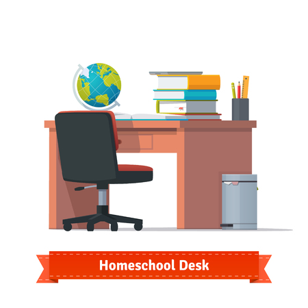 Comfortable homeschool workplace with the desk, wheelchair and a trashcan. Lots of books, tablet and terrestrial globe on the table. Flat style illustration or icon. EPS 10 vector.