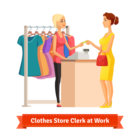 sales clerk: Beautiful blonde girl sales clerk taking credit card payment from a pretty woman at the clothes store or department. Pretty woman shop assistant. Flat style illustration or icon. EPS 10 vector.