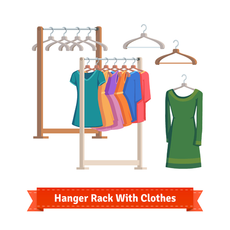 display: Clothes rack with dresses on hangers. Flat style illustration or icon. EPS 10 vector.