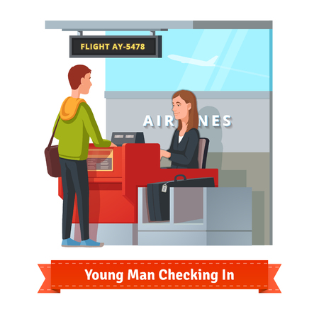 check in: Man with big suitcase checking in at the airport with pretty airlines clerk. Flat style illustration or icon. EPS 10 vector. Illustration