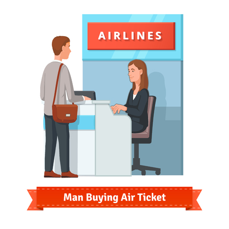 Young man buying a ticket for a business trip at the airport. He's assisted by a pretty woman airlines clerk. Flat style illustration or icon. EPS 10 vector.