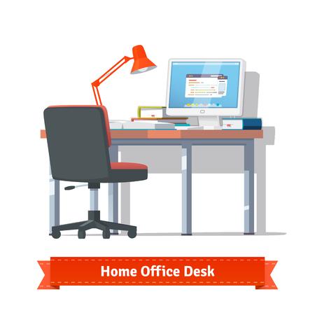 klawiatury: Wygodny dom pracy z włączonym komputerze na biurku, wózek inwalidzki, lampę i kilka książek. Płaski styl ilustracji lub ikonę. EPS 10 wektor.