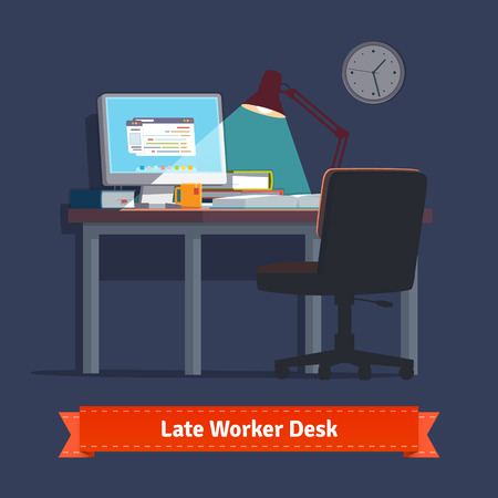 late: Comfortable home workplace with turned on desktop on the desk, wheelchair, lamp and some books. Working late at night. Flat style illustration or icon. EPS 10 vector.