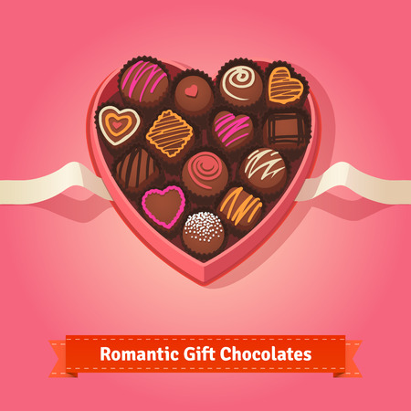 chocolate box: Valentines day, birthday chocolates in heart shaped box on red background.  Flat style illustration or icon. EPS 10 vector.