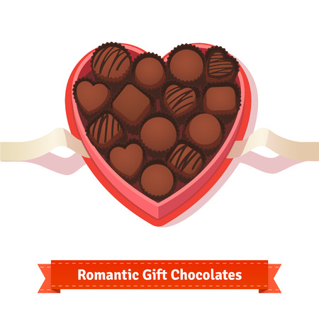 chocolate box: Valentines day, birthday dark chocolates in heart shaped box on white.  Flat style illustration or icon. EPS 10 vector.
