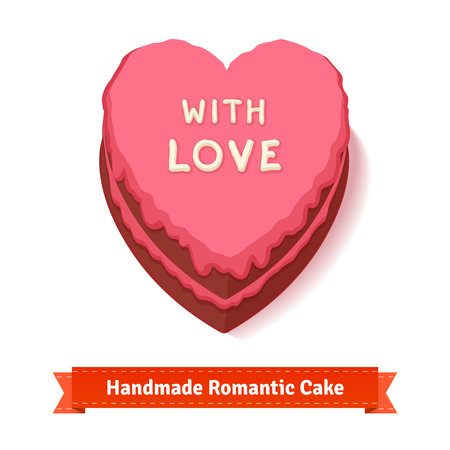 glazing: Valentines day, birthday romantic heart shaped cake with pink glazing. Handmade with big love. Flat style illustration or icon. EPS 10 vector. Illustration