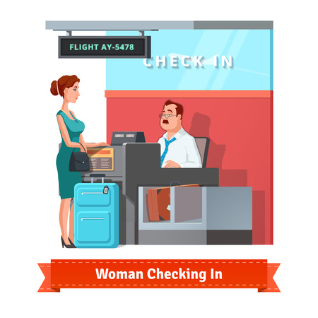 check in: Woman with baggage checking in at the airport with airlines clerk. Flat style illustration or icon. EPS 10 vector.