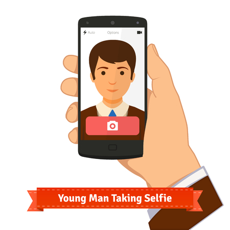 holding smart phone: Young man taking selfie photo picture holding smart phone. Flat style illustration or icon. EPS 10 vector. Illustration