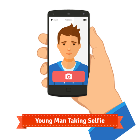 shutting: Young man taking selfie photo picture holding smart phone. Flat style illustration or icon. EPS 10 vector. Illustration
