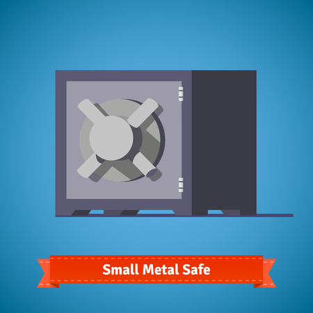 Small safe front view. Flat style illustration or icon. EPS 10 vector.
