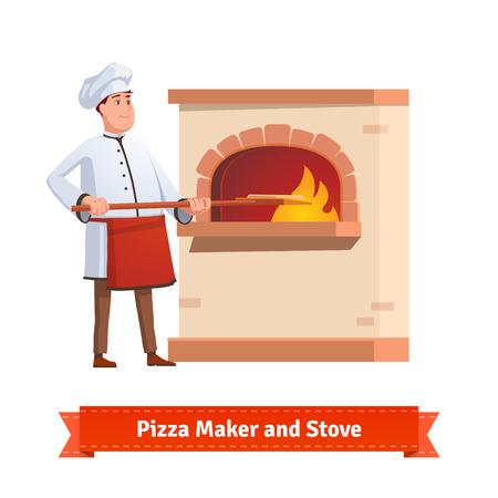 Chef Kok zetten pizza op een schil om een bakstenen oven met vuur. Vlakke stijl illustratie of pictogram. EPS-10 vector.