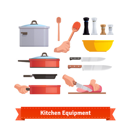 salt: Set of cooking equipment. Frying pan, salt and pepper shakers, pot, chef knifes and bowl.  Flat style illustration or icon. EPS 10 vector.
