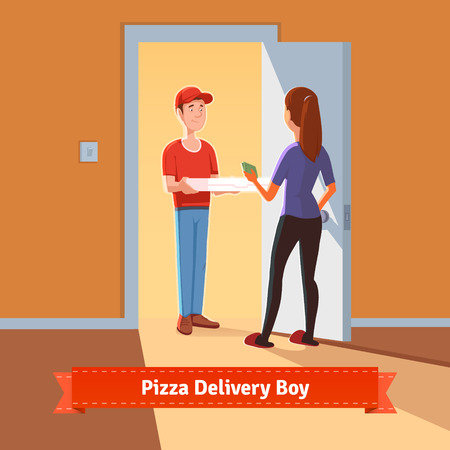 Pizza delivery boy handing pizza box to a beautiful girl at her home. Woman giving money for her order. Flat style illustration or icon. EPS 10 vector.