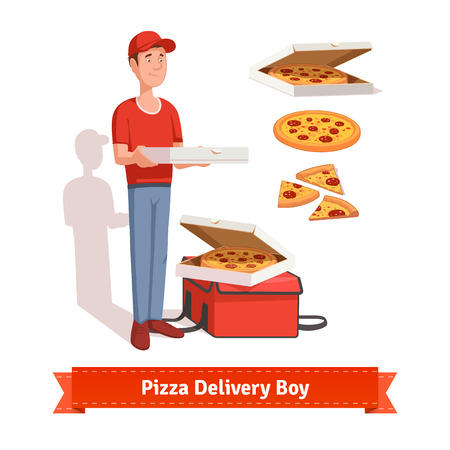 delivery boy: Delivery boy holding pizza cardboard box. Special delivery bag with pizza on top of it. Some slices. Flat style illustration or icon. EPS 10 vector. Illustration