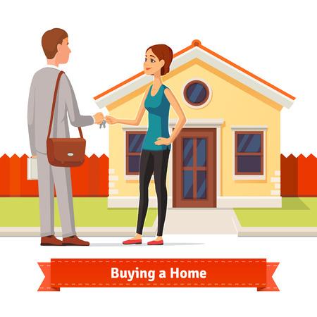Mujer que compra una nueva casa. Agente de bienes raíces dando un llavero hogar a un comprador dama confianza. Ilustración del estilo plano o icono. 10 EPS vector. Ilustración de vector