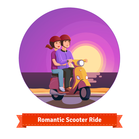 reflects: Couple on a scooter having a romantic scooter ride at the seashore sunset. Flat style illustration or icon. EPS 10 vector. Illustration