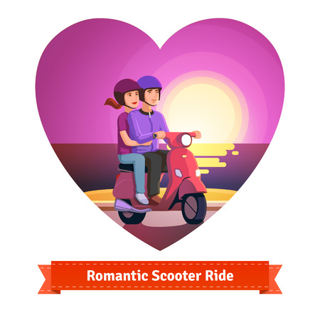 reflects: Couple on a scooter having a romantic scooter ride at the seashore sunset in a heart shape. Flat style illustration or icon. EPS 10 vector.