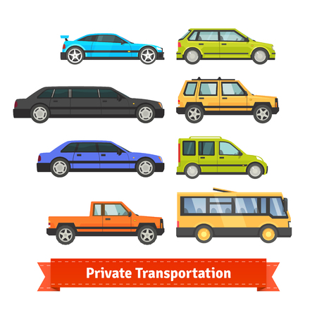 pickup truck: Private transportation. Set of various cars and vehicles. Flat style illustration or icon. EPS 10 vector.