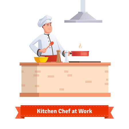 commercial kitchen: Chef cooking food. Frying in the pan at the kitchen table holding wooden spatula. Flat style illustration or icon. EPS 10 vector.