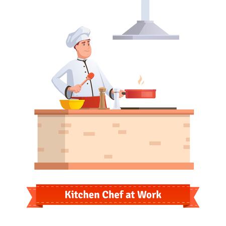 Chef-kok koken van voedsel. Bakken in de pan aan de keukentafel met houten spatel. Vlakke stijl illustratie of pictogram. EPS-10 vector.