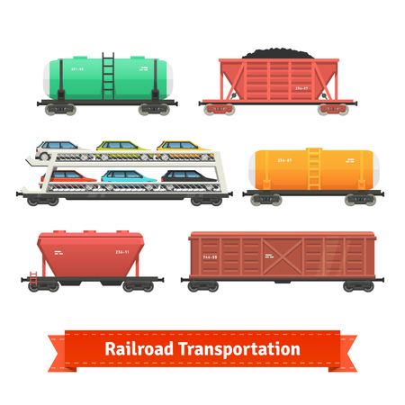 Railroad transportation set. Various train cars. Motorail, oil, ore, hopper cars. Flat style illustration or icon. EPS 10 vector.
