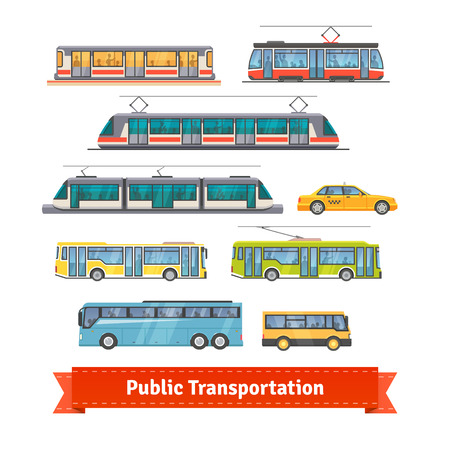 railway transportations: City and intercity transportation vehicles icon set. Trains, subway, buses and taxi. Flat style illustration or icon. EPS 10 vector.