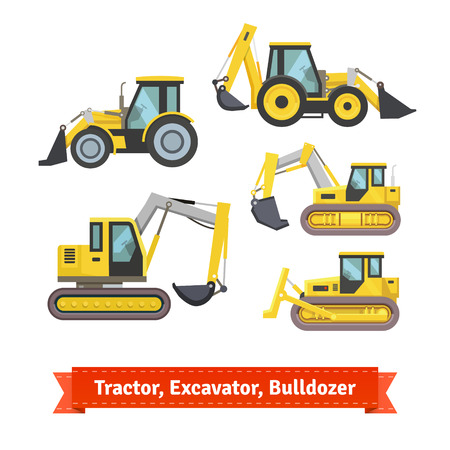 excavator: Tractor, excavator, bulldozer set. Wheeled and caterpillar type with blade and backhoe. Flat style illustration or icon. EPS 10 vector.