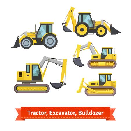 Tractor, graafmachine, bulldozer set. Wielen en rups type met een mes en backhoe. Vlakke stijl illustratie of pictogram. EPS-10 vector. Vector Illustratie