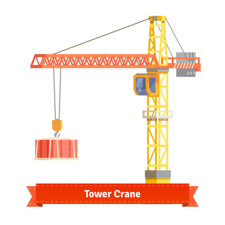 towers: Tower crane lifting building materials on the hook. Flat style illustration. EPS 10 vector. Illustration