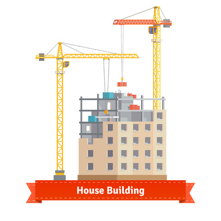 tower house: Construction of tenement house with two tower cranes lifting concrete slab and building materials. Flat style illustration or icon. EPS 10 vector. Illustration