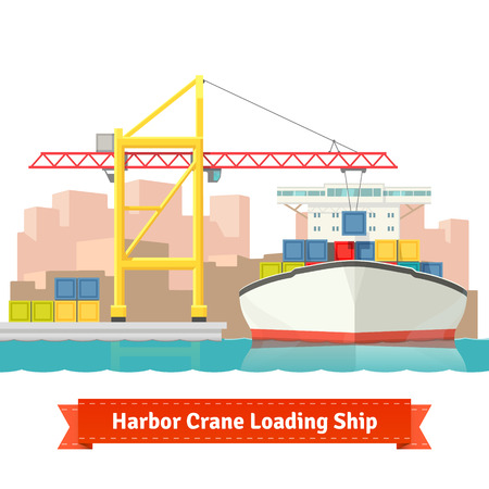 Container cargo ship loaded by big harbour crane in the town port. Naval transportation concept. Vector flat style illustration.