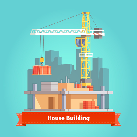 building bricks: Building of skyscraper house with tower crane lifting bricks pallet. Flat style illustration. EPS 10 vector.