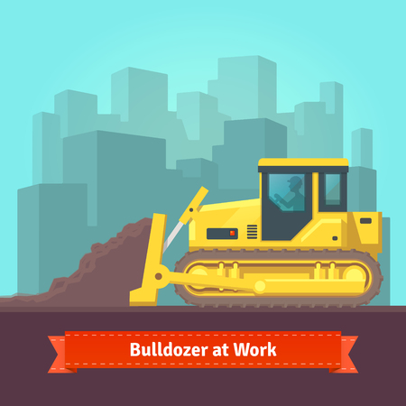 levelling: Excavator tractor levelling land in front of cityscape background. Vector flat style illustration. Illustration