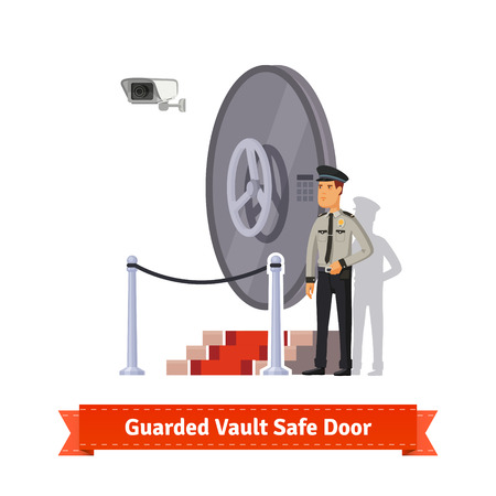 the guard: Vault safe door with podium and red carpet fence guarded by an officer in uniform and a security camera. Flat style illustration. EPS 10 vector.