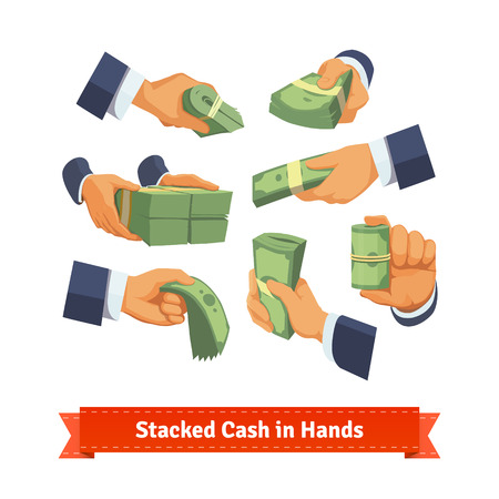 Hand poses giving, taking or showing green cash stacks with ribbon and rubber bands. Flat style illustration. EPS 10 vector.