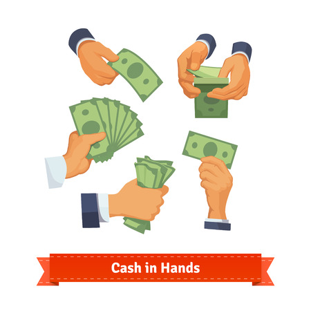hold: Hand poses counting, giving, taking, squeezing and showing green cash. Flat style illustration. EPS 10 vector.