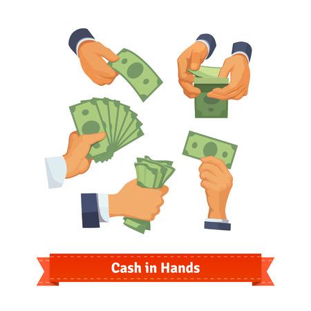 cash: Mano plantea contar, dar, tomar, apretando y que muestra en efectivo verde. ilustración de estilo plano. 10 EPS vector.