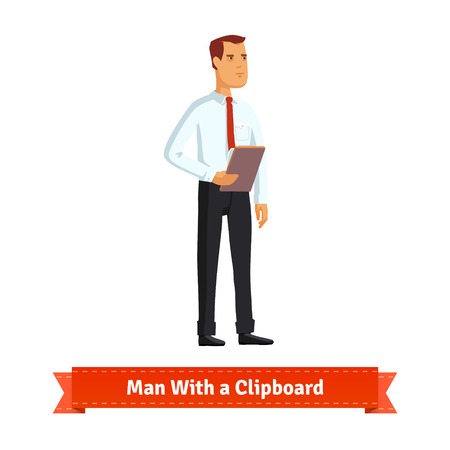 Man with a clipboard dressed in white shirt and tie. Flat style illustration. EPS 10 vector.