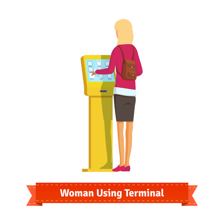 terminals: Woman using electronic self-service terminal. Flat style illustration. EPS 10 vector.