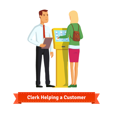 Clerk helping woman at the information kiosk or self-service terminal. Flat style illustration. EPS 10 vector.