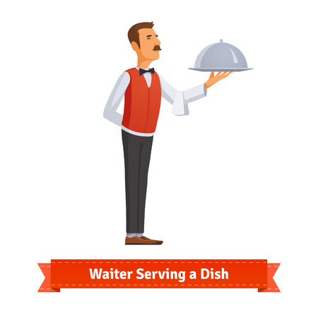 waiter tray: Classy waiter in a bow-tie serving a dish in a silver platter with lid. Flat style illustration. EPS 10 vector.