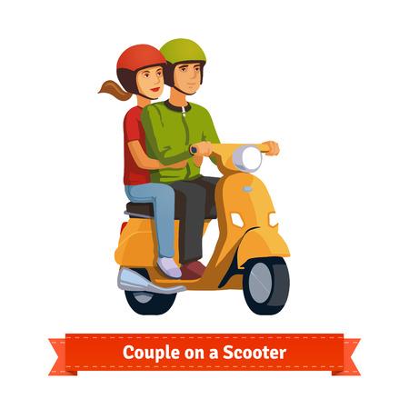 Pareja en un scooter. Montar a caballo feliz juntos. ilustración de estilo plano. 10 EPS vector. Ilustración de vector