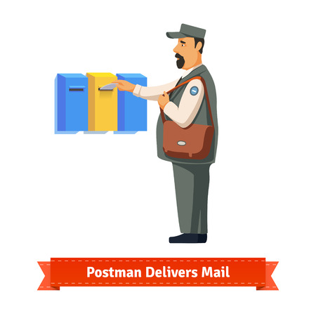 delivers: Postman delivers a letter to a colorful  mailbox. Flat style illustration. EPS 10 vector.