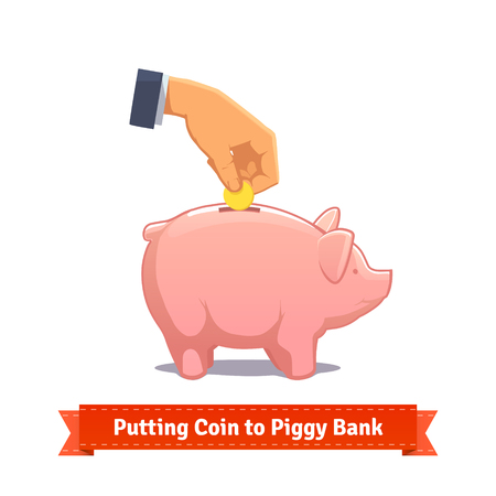 Hand putting coin to a pink piggy bank. Flat style illustration. EPS 10 vector.