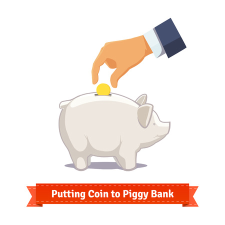 hand with money: Hand putting coin to a pink piggy bank. Flat style illustration. EPS 10 vector. Illustration