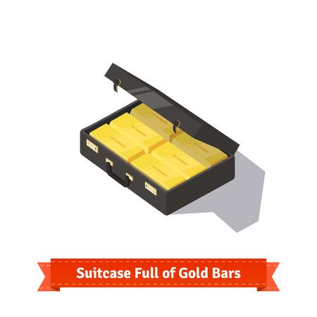 luggage pieces: Suitcase full of gold bars. Stacks of dollars. Flat style isometric illustration. EPS 10 vector. Illustration