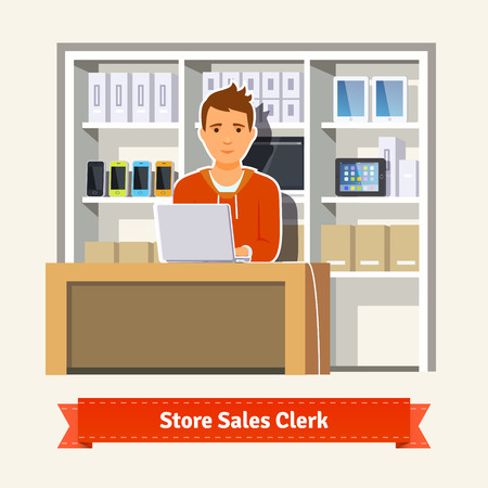store keeper: Sales clerk working with customers at the technology store or department. Young boy shop assistant. Flat style illustration. EPS 10 vector. Illustration