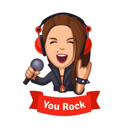 soloist: Hard rocking singer girl. You rock emoticon. Flat style illustration. EPS 10 vector. Flat style illustration. EPS 10 vector. Illustration