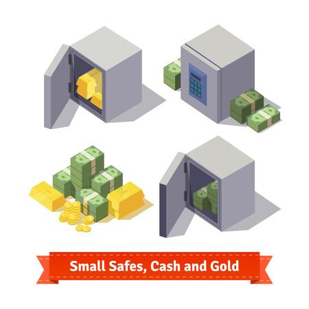 efectivo: Peque�as cajas fuertes con las barras de oro y dinero en efectivo. ilustraci�n de estilo plano. 10 EPS vector.