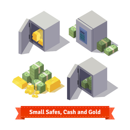 Small safes with gold bars and cash. Flat style illustration. EPS 10 vector.